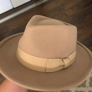 Tan Flat Brim Hat- one size